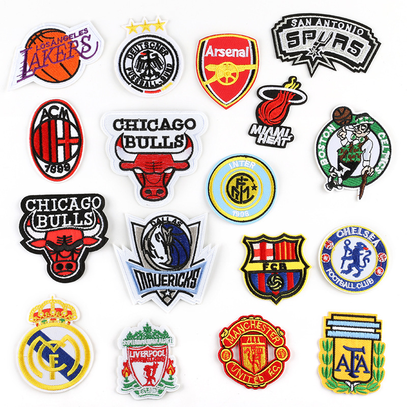 5PCS NBA Team Emblem Patch Embroidered Cloth Iron on Patches Stripes Stickers for Clothes Badges Applique Hat Emblem Accessories image