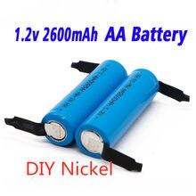 2021 Nwe oryginalny akumulator AA 1.2 V 2600mah AA NiMH baterii z lutowane szpilki DIY elektryczne szczoteczki do zębów zabawki