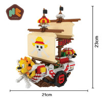 HC 9035 2691Pcs One Piece Pirates Ship Cartoon DIY Magic Blocks Diamonds Building Block Toys Christmas Gift For Children