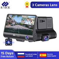 E-ACE Dashcam B28 Auto DVRs 4 Zoll Auto Kamera FHD 1080P Auto-Recorder Dash Cam 3 Kamera objektiv Registrator mit Rückansicht Kamera