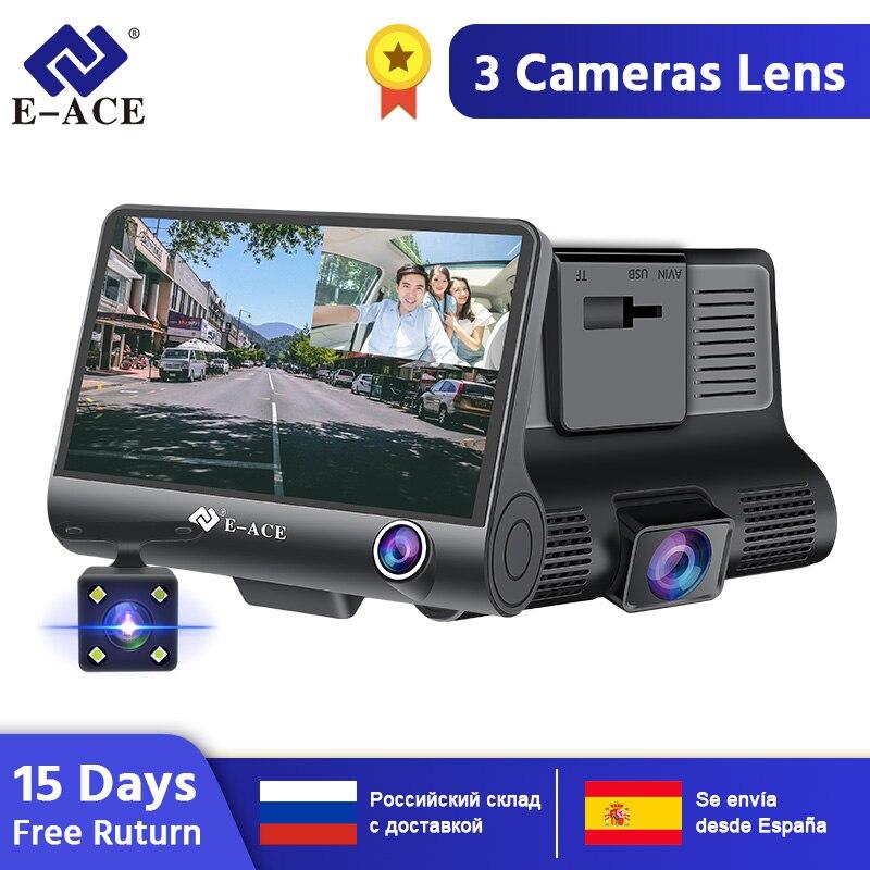 E-ACE Dashcam B28 Car DVRs 4 Inch Car Camera FHD 1080P Auto Recorder Dash Cam 3 Camera Lens Registrator With Rear View Camera