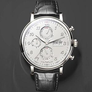 Image 3 - Switzerland LOBINNI Men Watches Luxury Brand Perpetual Calender Auto Mechanical Mens Clock Sapphire Leather relogio L13019 6