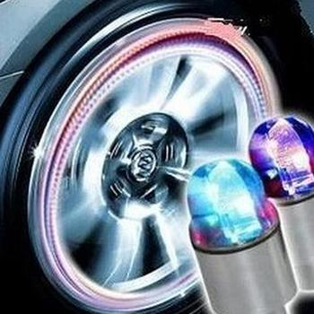 1PCS Car Wheel LED Light Motocycle Bike Light Tire Valve Cap Decorative Zinc Alloy Lantern Tire Valve Cap Flash Spoke Neon Lamp image