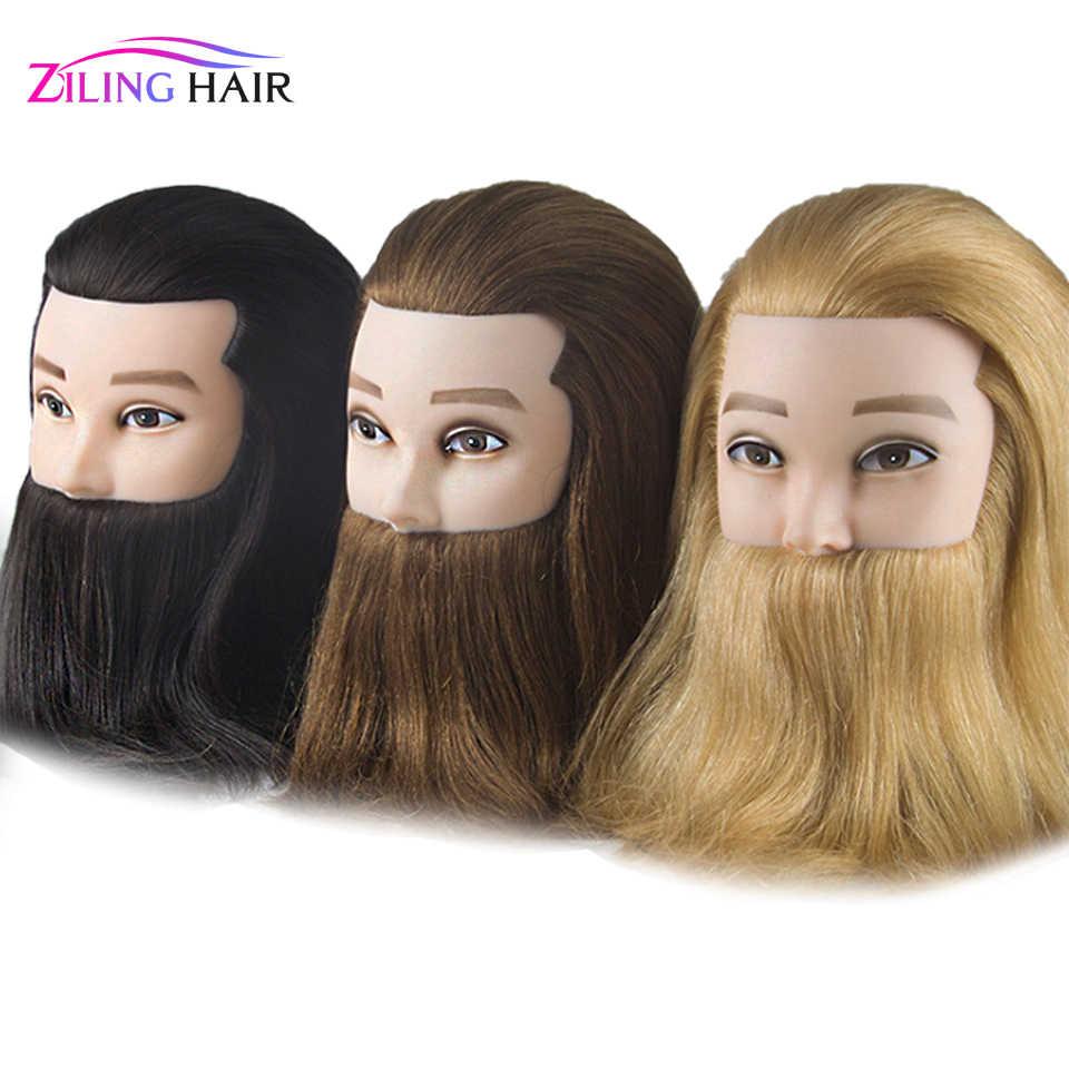 Mężczyzna 100% prawdziwe ludzkie włosy manekin praktyka szkolenia głowy z brodą fryzjer fryzjerstwo manekin głowa lalki dla beauty school