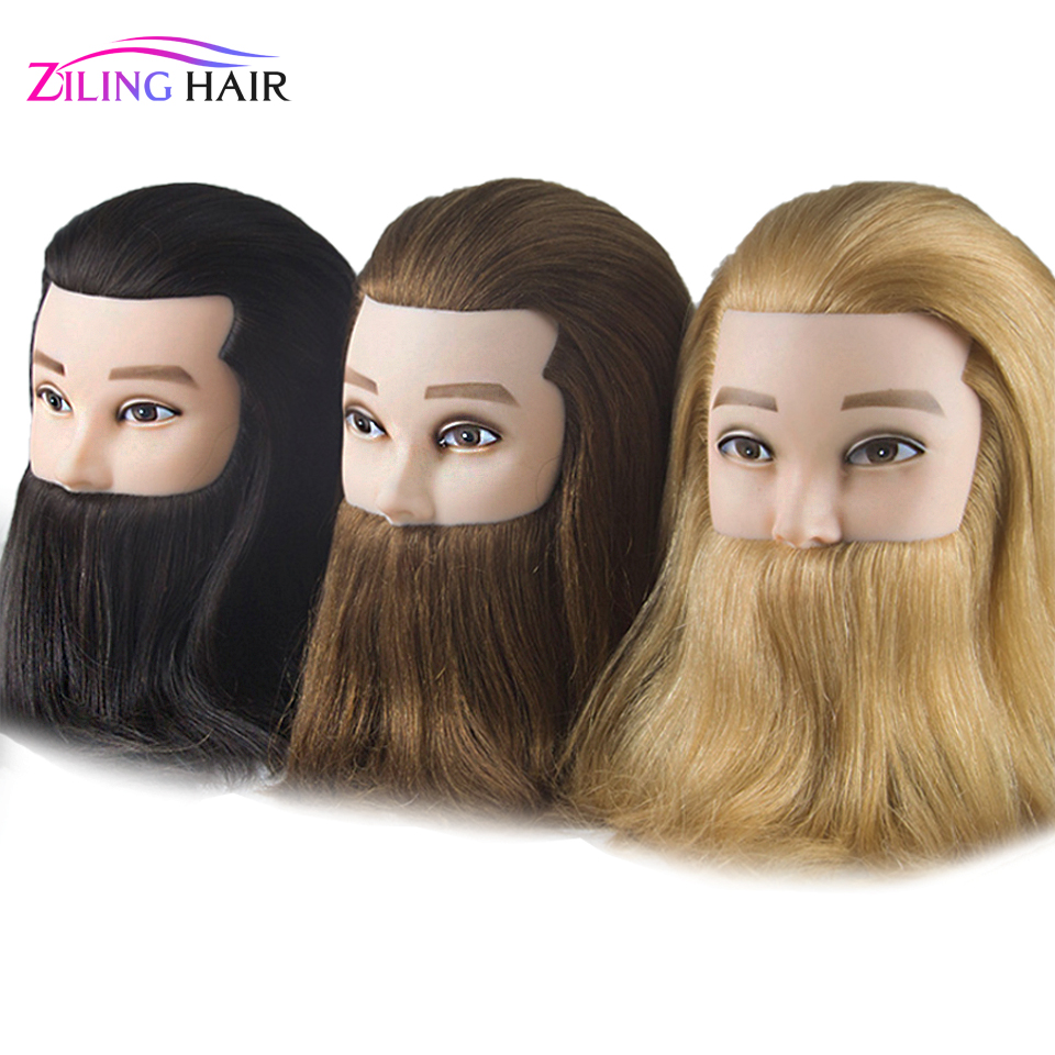Male 100% Real Human Hair Mannequin Practice Training Head With Beard Barber Hairdressing Manikin Doll Head  For Beauty School