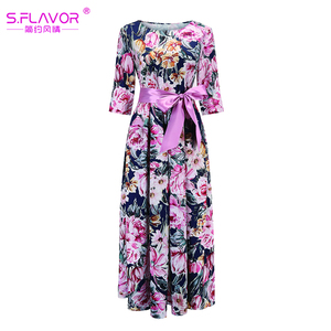 Image 4 - S.FLAVOR Bohemian Printing Long Dress O neck 3/4 Sleeve Big Hem Women Autumn Winter Casual Dress Elegant Party Vestidos De