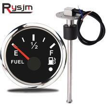 52mm Fuel Level Gauge + Sensor 250mm Fuel Level Meter 0 190 240~33 ohm signal for boat yacht car truck 316 stainless steel