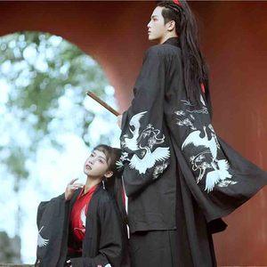 Hanfu rojo y negro hombres/mujeres chino tradicional bordado ropa parejas Cosplay traje Hanfu vestido para hombres/mujeres de talla grande