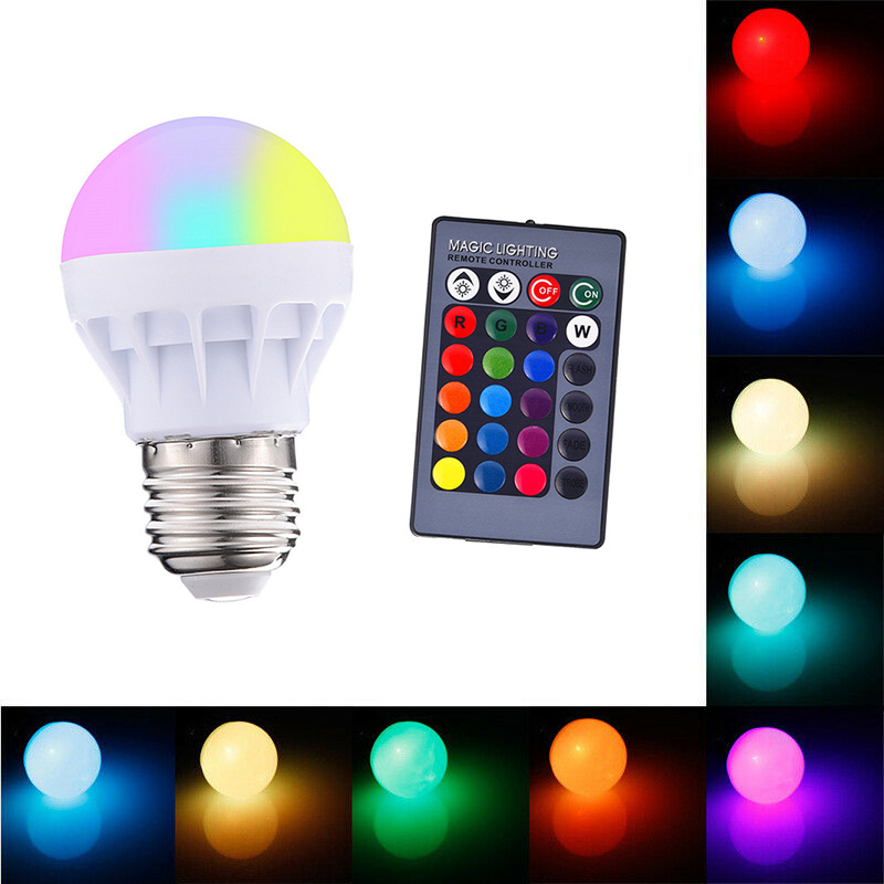 E27 Smart Led Rgb Bulbs Rgb Lamp Dimmable Bulbs Spotlight E27 Bulb 3W Led Lamps That Change Color + 24 Key IR Remote Controller