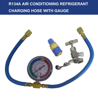 Car Van Air Conditioning A/C R134A Refrigerant Charging Hose with Pressure Gauge Car Accessories