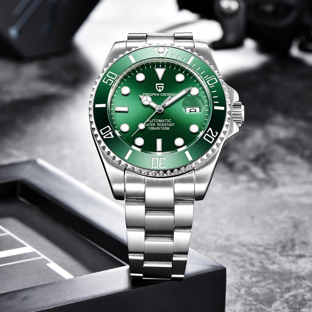 PAGANI Design Brand Luxury Men Watches Automatic Black Watch Men Stainless Steel Waterproof Business Sport Mechanical Wristwatch 6