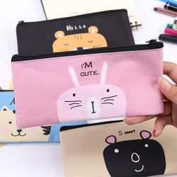 1PC Creative Cartoon Canvas Pencil Bag High Quality Oxford Cloth Simple Stationery Bag Student Stationery Pencil Bag