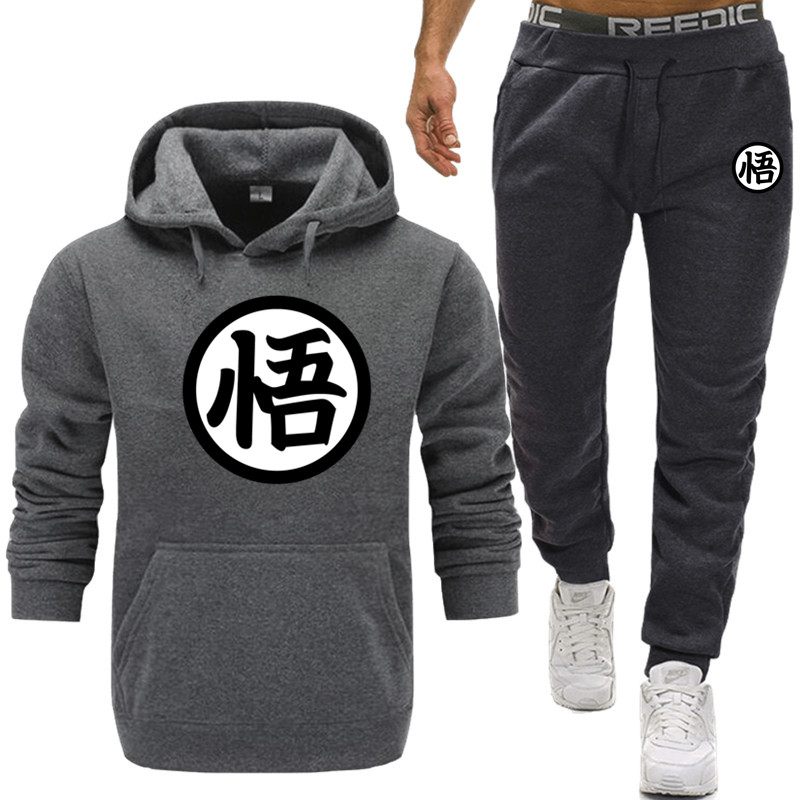 Dragon Ball  Goku 2 Pieces Autumn Running Tracksuit Men Sweatshirt Sports Set Gym Clothes Men +pants Male Casual Two Pieces
