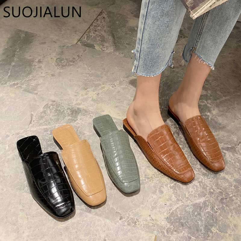 SUOJIALUN New Women's Spring Mules Shoes Slip On Round Toe Lazy Slippers Fashion Stone Pattern Fabric Slides Ladies Sandals