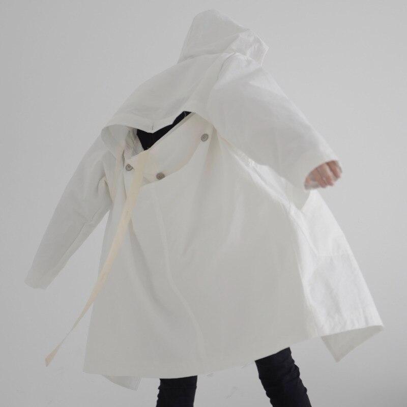 LANMREM 2020 New Spring Solid Color Single Breasted Hooded Trench Coat Women Streetwear Irregular Loose Windbreaker Tide PD597
