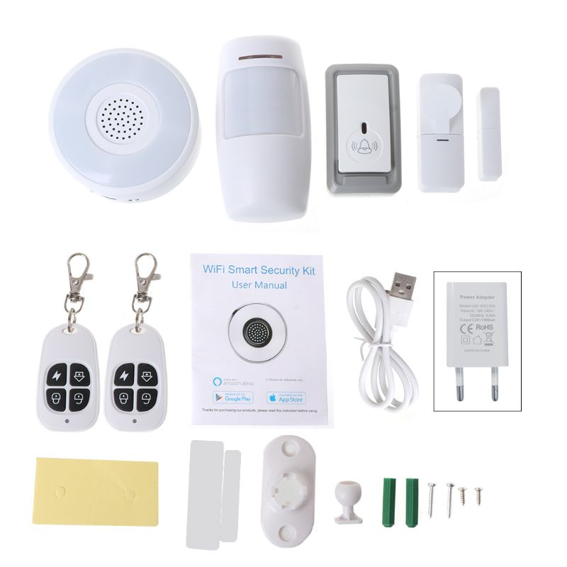 1Set 1Set Smart Home WiFi Security Alarm Kit Gateway Hub Door Window Sensor PIR Detector Automation Home Security System for