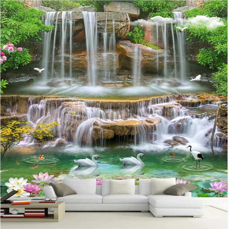 Custom large 3D wallpaper murals HD natural scenery waterfall 3D landscape painting living room TV background.jpg q50