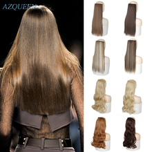 Hair-Extensions Synthetic-Hair-Piece Brown Clip-In Black Straight Long Women AZQUEEN