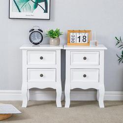 2 uds mesita de noche cajón organizador armario de almacenamiento mesita de noche muebles de dormitorio Woode mesa de Noche Blanca nórdica madera sólida HWC