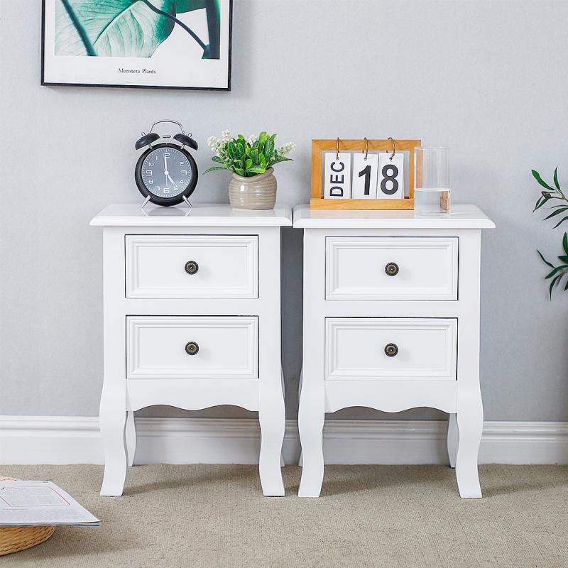 2PCS Nightstand Drawer Organizer Storage Cabinet Bedside Table Bedroom Furniture Woode Nordic White Bedside Table Solid Wood HWC