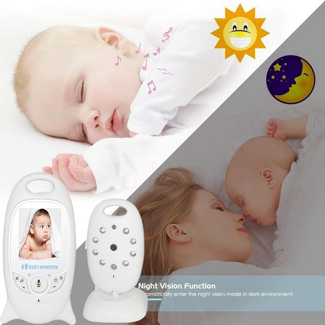 Video Baby Monitor 2 Inch Baba Electronic Babysitter Radio Video Nanny Camera Night Vision Temperature Monitor Multi-Language