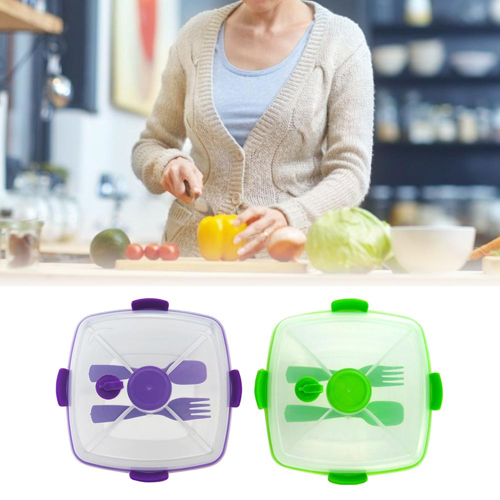 Reusable Lunch Container With Salad Bowl BPA-Free Plastic Double-layer Separated Box Square Fruit Tray Sauce Jar