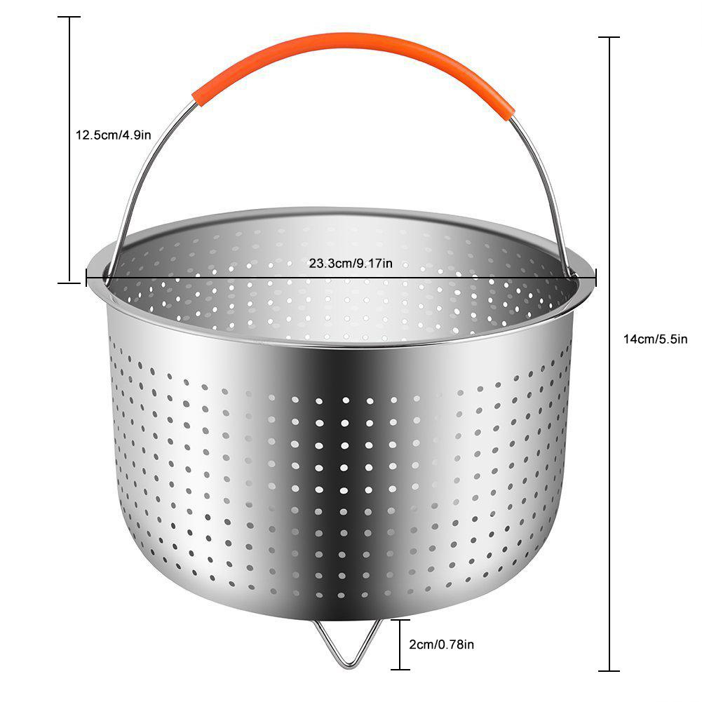 304 Stainless Steel Rice Cooker Steam Basket Pressure Cooker Anti-scald Steamer Multi-Function Kitchen Fruit Cleaning Basket