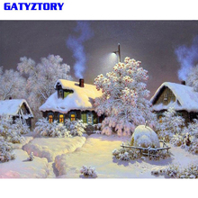Купить с кэшбэком GATYZTORY Snow Landscape Diy Painting By Numbers Digital Calligraphy Painting Hand Painted Wall Art Picture For Home Decor 40x50