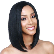 Synthetic Short Bob Wig Natural Black Hair Wig Heat Resistant Fiber Middle Part Short Straight Bob Wigs For Black Women Msglamor adiors side part slightly curled short bob synthetic wig