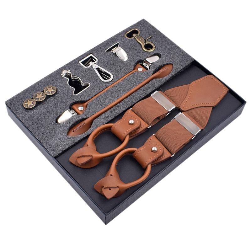 FGGS-Leather Men's Suspenders, Trousers, Suspenders, Men's Elastic Shoulder Straps, Business