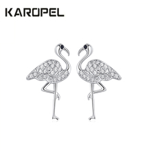 2019 New CZ Zircon Crystal Cute Flamingo Stud Earrings for Women Simple Korean Animal Party Gift Jewelry