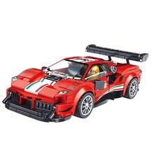 352 pçs velocidade campeões criador moc super carro esportivo 488 gt3 corrida blocos de construção do veículo racer tijolos diy brinquedos para chilidren