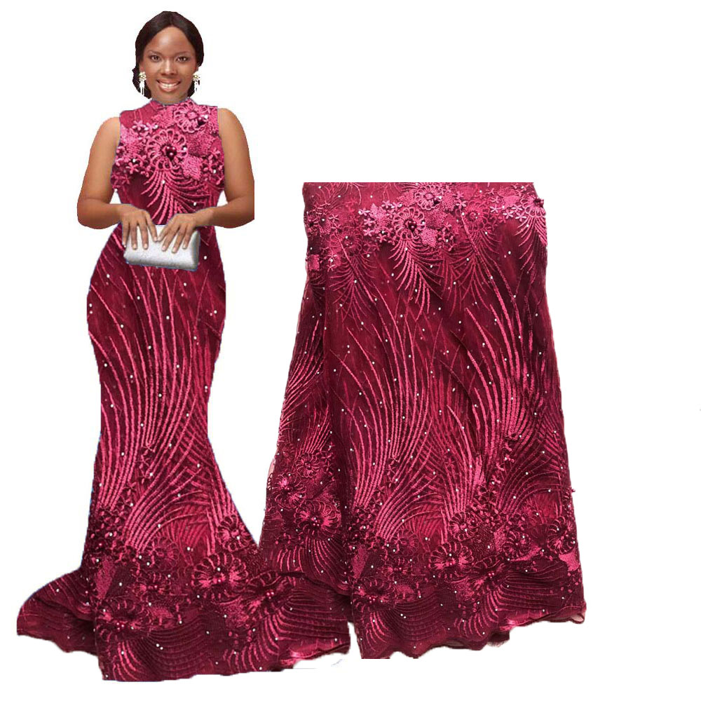 Cheap Wine Latest African Laces with stones beads Nigerian Tulle French Net Lace Fabric For wedding 2020 image