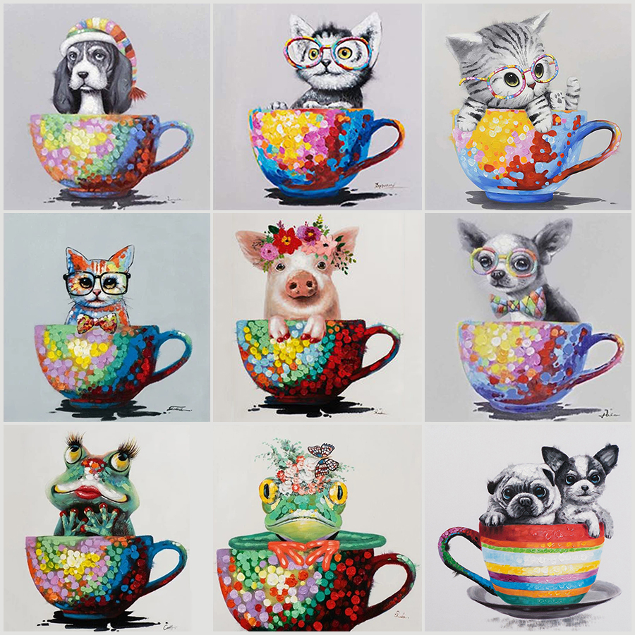5D DIY Diamond Painting animal Dog Cat Frog Cup Square&Round Diamond mosaic paint Diamond embroidery Cross stitch home decor Art