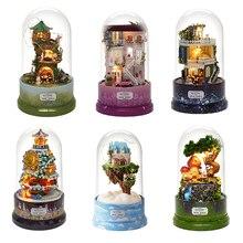 DIY вращающаяся музыкальная шкатулка, миниатюрные наборы для сборки кукольного домика, деревянная мебель для дома, игрушки для детей, подаро...