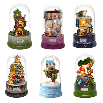 DIY Dollhouse Rotate Music Box Miniature Assemble Kits Doll House With Furnitures Wooden House Toys for Children Birthday Gift doll house miniature diy dollhouse with furnitures wooden house toys for children birthday christmas gift your name 13842