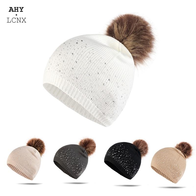 Winter Toddler Girls Knitted Hat Kids Warm Cute Thick Beanie Pompom Skullies Cap