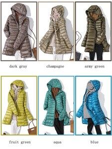 Image 5 - 7XL 겨울 여자 패딩 후드 롱 자켓 화이트 오리 여성 오버 코트 울트라 라이트 슬림 솔리드 자켓 코트 휴대용 파커