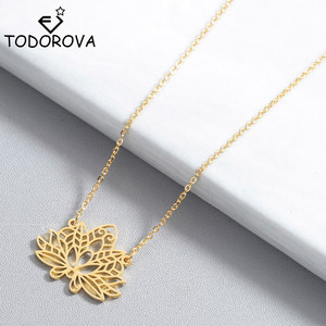 Todorova New Yoga Lotus Pendant Necklace Women Stainless Steel Jewelry Buddhism Water Lily Indian Vintage Boho Necklaces Female