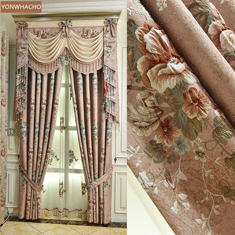 Custom curtains High-class European high-precision embossed chenille pink thick cloth blackout curtain valance tulle panel C048