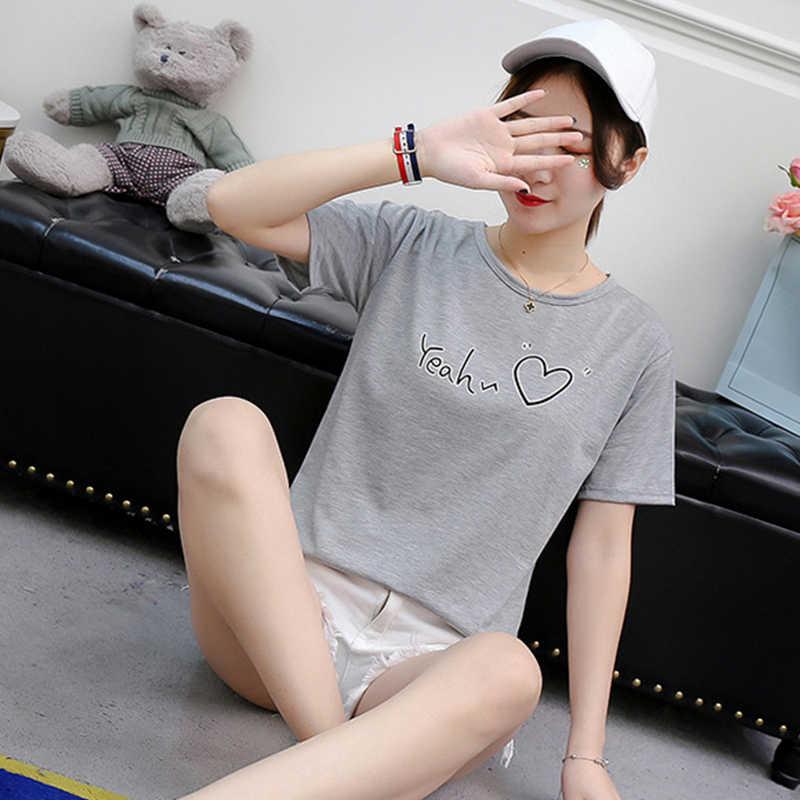 Nuove Donne di T-Shirt Casual Harajuku Amore Stampato Lettera Magliette E Camicette Tee di Estate Femminile T-Shirt a Manica Corta Maglietta Abbigliamento Donna
