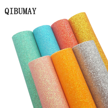 QIBUMAY 22*30cm Faux Glitter Leather Sheets Fabric Shiny Sequin Gold Synthetic DIY Hairbow Accessories