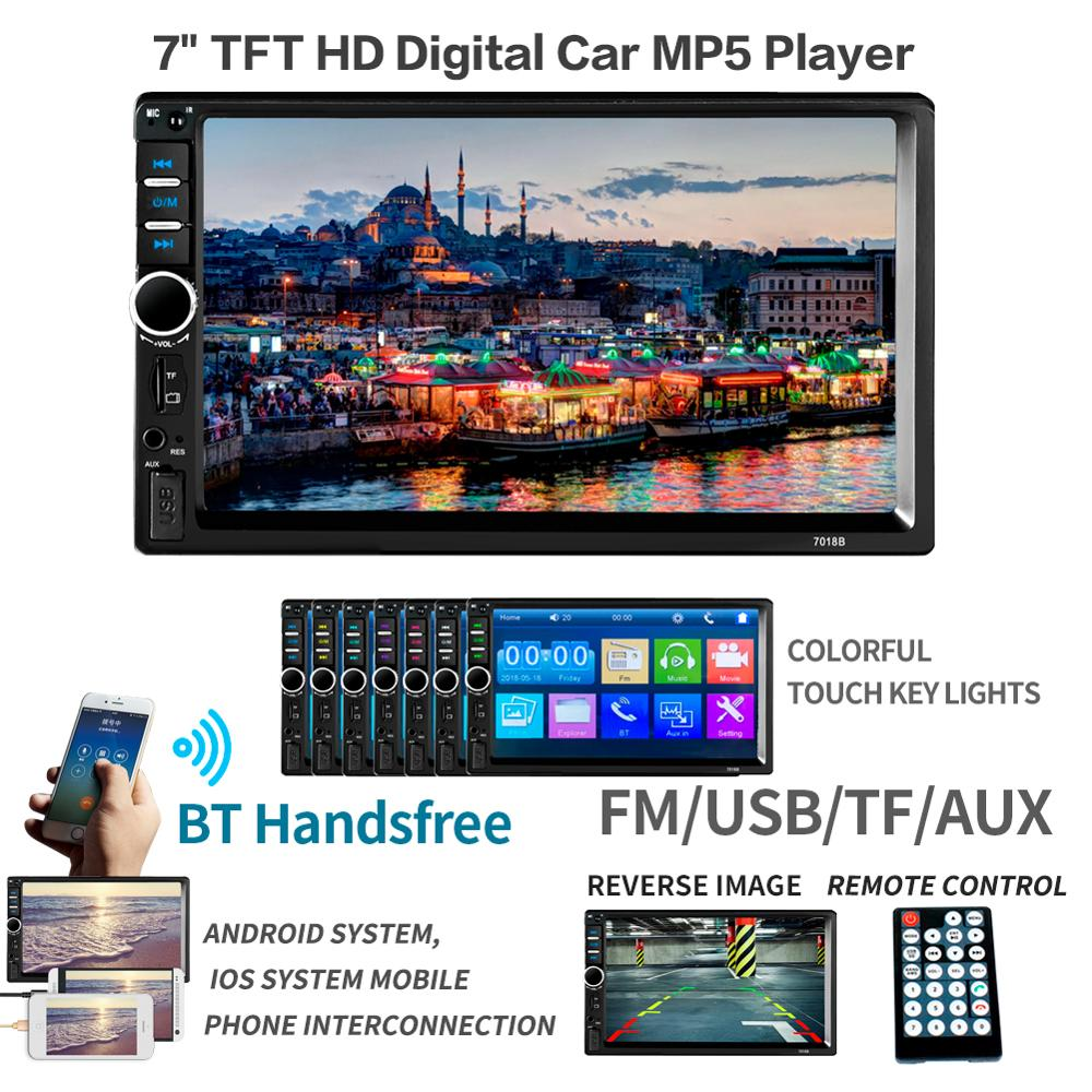 """Car Radio HD 7"""" Touch Screen Stereo 2 Din Bluetooth FM ISO Power SD USB Aux Input Mp5 Player7018B 7018G 7018PLUS