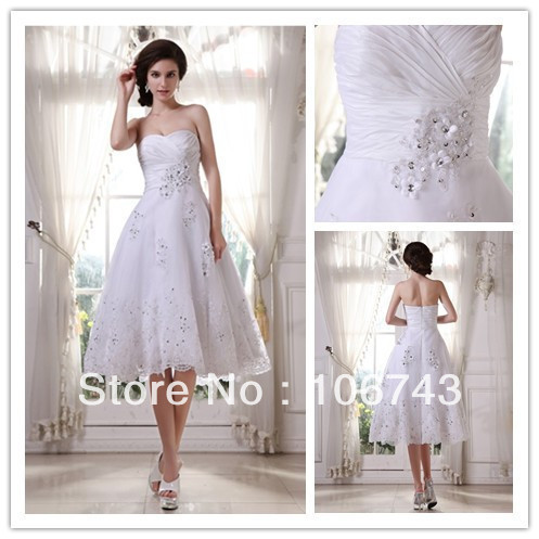 Free Shipping Dress 2016 New Design Hot Seller Quality Short Knee Length Lace White Bridal Gown Custom Size/color Wedding Dress