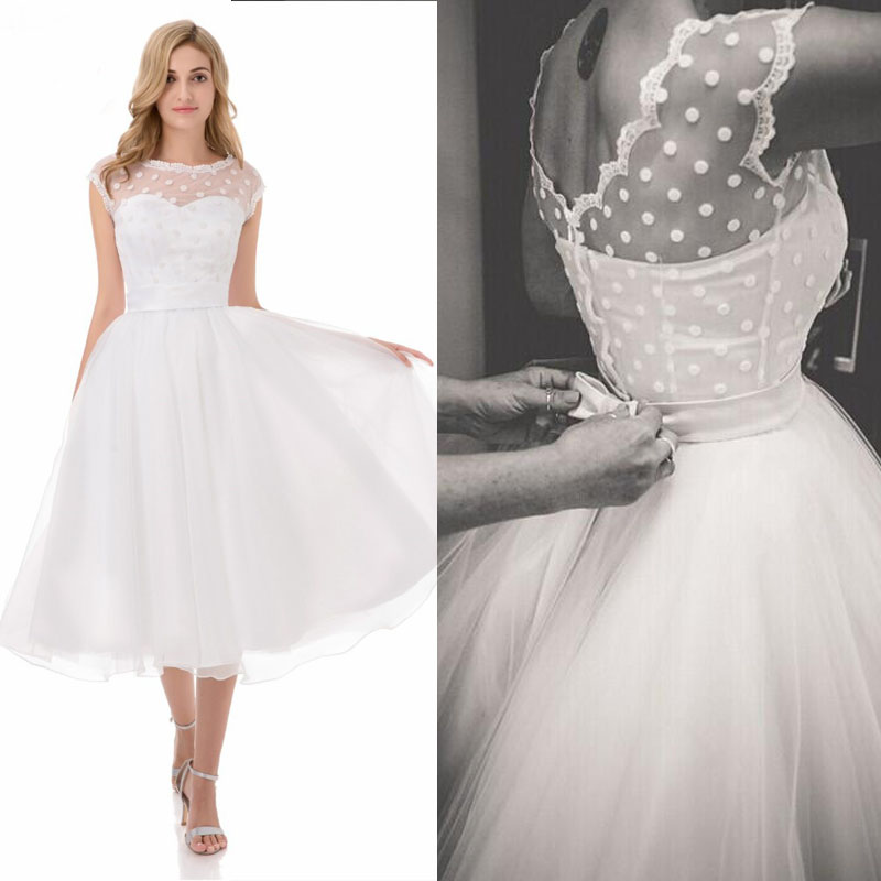Short Wedding Dresses White Organza Ball Gown Woman Mid Calf Bridal Party Dress With Bow 2019 Vestido De Novia