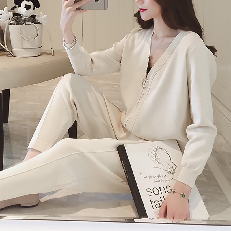Korean Women Knitted 2 Piece Sets Outfits Long Sleeve Zip-up Cardigan And Pants Suits Ladies Fashion Elegant Two Piece Sets 2019 50