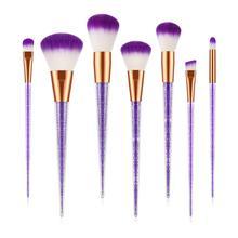 Pro 7Pcs Diamond Crystal Handle Makeup Brushes Set Powder Foundation Blusher Eyeshadow Face Make Up Brush Cosmetic Tool