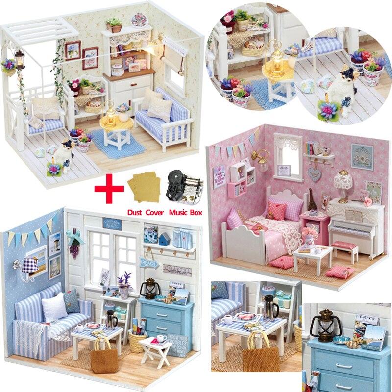 Maison de poupée meubles bricolage Miniature modèle cache-poussière 3D en bois maison de poupée cadeaux de noël jouets pour enfants chaton journal H013 # E
