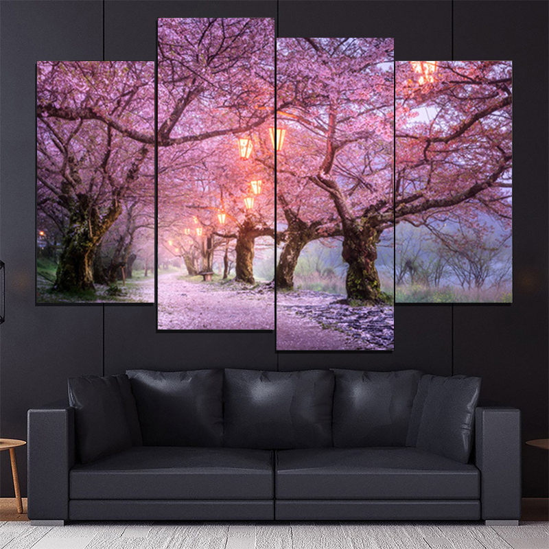 4PCS HD Printing Pink Cherry Tree Landscape Art Painting Poster Modern Living Room Corridor Home Decor Picture Without Frame