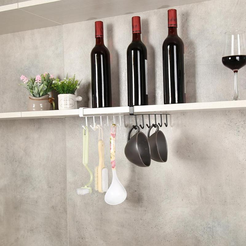 Kitchen Storage Rack 6 Hooks Hanging Shelf Hanger Bathroom Home Organizer Holder Cup Holder Hang For Towel Chest Cup Drainer